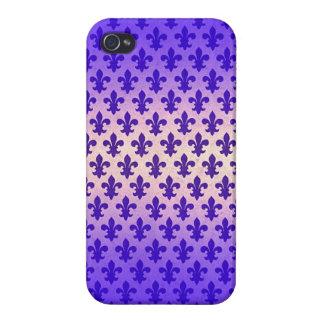 Vintage gradient blue fleur de lis pattern iPhone 4/4S case
