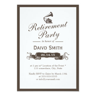 Vintage Gramophone Classy Border Retirement Party Card