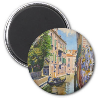 Vintage Grand Canal Gondolas Venice Italy Travel 6 Cm Round Magnet