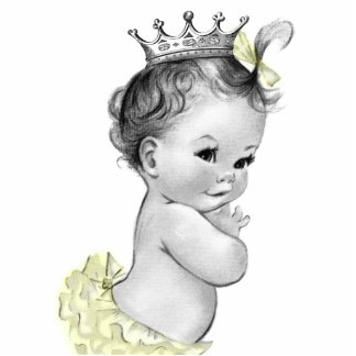 Vintage Gray and Yellow Princess Baby Girl Shower Standing Photo Sculpture