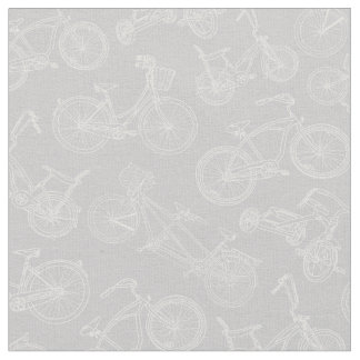 Vintage Gray Bicycle Pattern Fabric