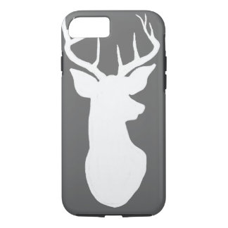 Vintage Gray Chalkboard White Stag Reindeer iPhone 8/7 Case