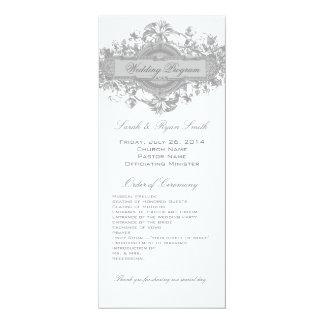 VINTAGE GRAY FLORAL WEDDING PROGRAM PERSONALIZED INVITATIONS