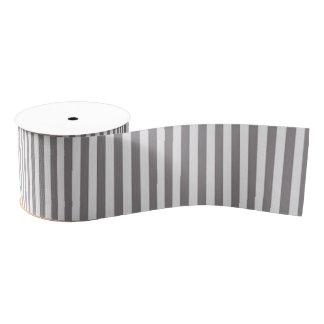 Vintage Gray White Chic Stripes Pattern Grosgrain Ribbon