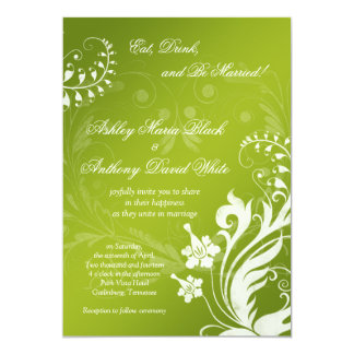Vintage Green and White Floral Wedding Invitation