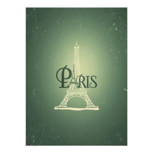 Vintage Green Eiffel Tower Paris Design Invitations