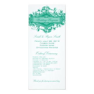 VINTAGE GREEN FLORAL WEDDING PROGRAM 4X9.25 PAPER INVITATION CARD