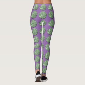 Vintage Green Rose Tapestry custom Purple leggings