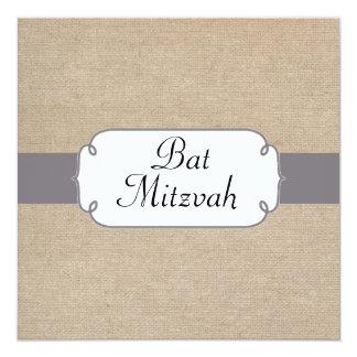 Vintage Grey and Beige Burlap Bat Mitzvah Card