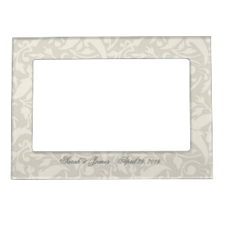 Vintage Grey and white damask Picture Frame Magnets