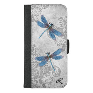 Vintage Grey Grunge Damask and Dragonflies Case