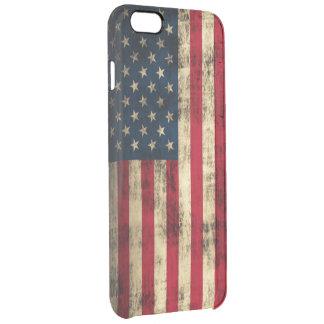 Vintage Grunge American Flag Clear iPhone 6 Plus Case