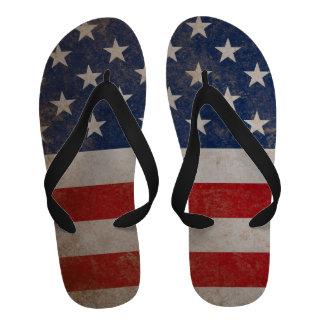 Vintage Grunge American Flag Flip-Flops