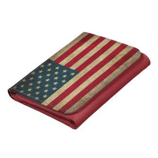 Vintage Grunge American Flag Patriotic Leather Wallet