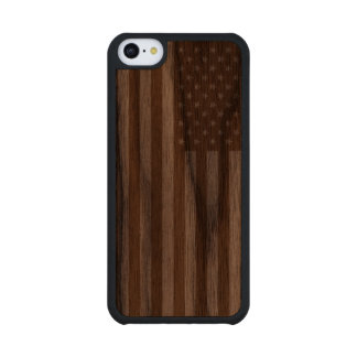 Vintage Grunge American Flag Walnut iPhone 5C Case