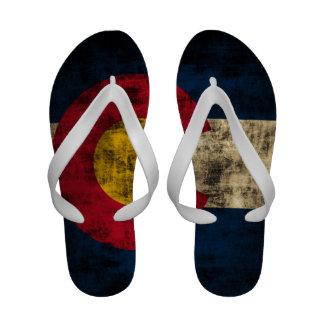 Vintage Grunge Colorado Flag Flip-Flops