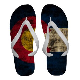 Vintage Grunge Colorado Flag Flip Flops