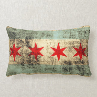 Vintage Grunge Flag of Chicago Throw Pillows