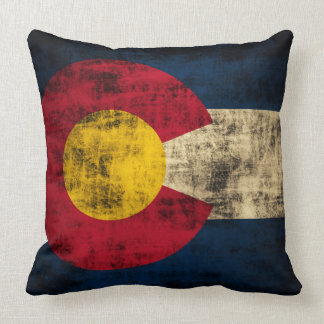 Vintage Grunge Flag of Colorado Pillow