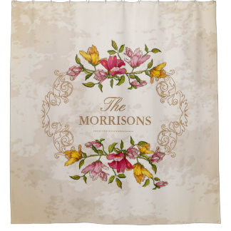 Vintage Grunge Floral Wreath Monogram Family Name Shower Curtain