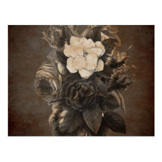 Vintage Grunge Flowers Postcard