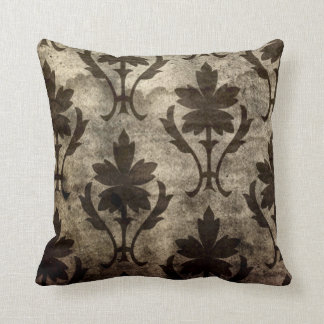 Vintage Grunge Leaf Pattern Plush Throw Pillow