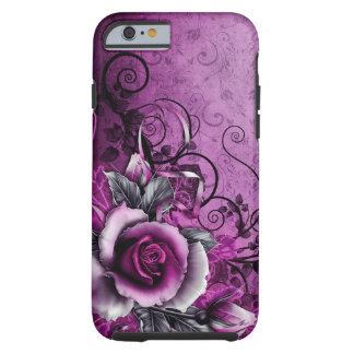 vintage grunge purple rose vector swirl art tough iPhone 6 case