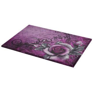 vintage grunge purple rose vector swirl art cutting boards