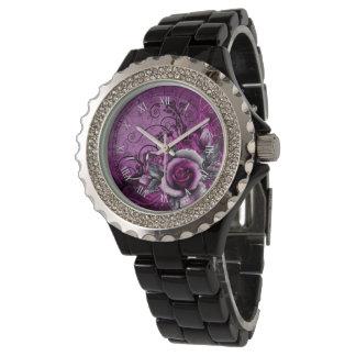 vintage grunge purple rose vector swirl art wrist watch