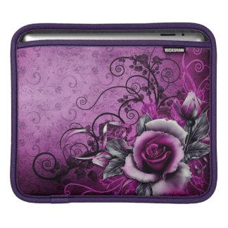 vintage grunge purple rose vector swirl art iPad sleeve