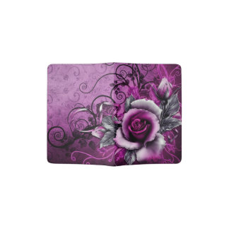 vintage grunge purple rose vector swirl art passport holder
