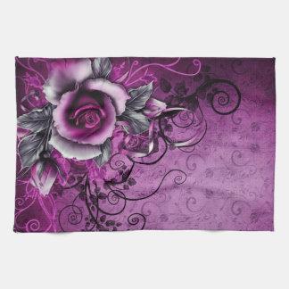 vintage grunge purple rose vector swirl art kitchen towels