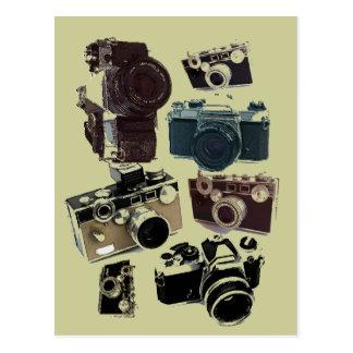 Vintage Grunge Retro Cameras Fashion Postcard