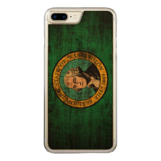 Vintage Grunge State Flag of Washington Carved iPhone 8 Plus/7 Plus Case