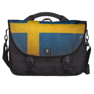 Vintage Grunge Sweden Flag Laptop Bags