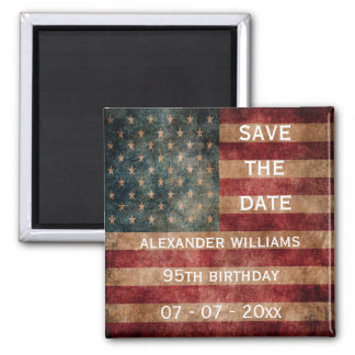 Vintage Grunge USA Stars & Stripes 95th Birthday Square Magnet