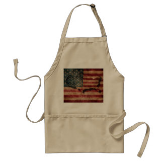 Vintage Grunge USA Stars & Stripes Flag and Map Standard Apron