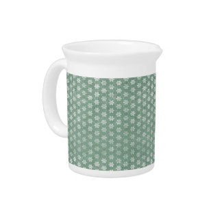 Vintage Grunge White Flowers On Green Drink Pitchers