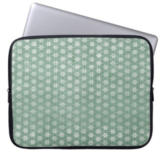 Vintage Grunge White Flowers On Green Laptop Computer Sleeves