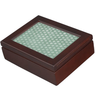 Vintage Grunge White Flowers On Green Memory Box