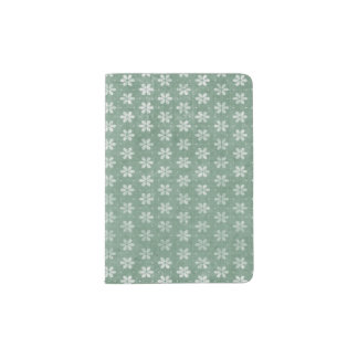 Vintage Grunge White Flowers On Green Passport Holder
