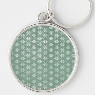 Vintage Grunge White Flowers On Green Silver-Colored Round Key Ring
