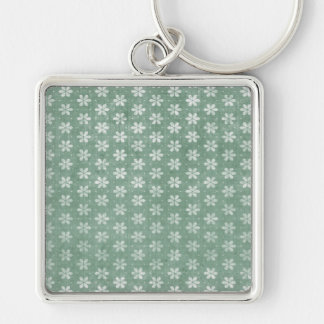 Vintage Grunge White Flowers On Green Silver-Colored Square Key Ring