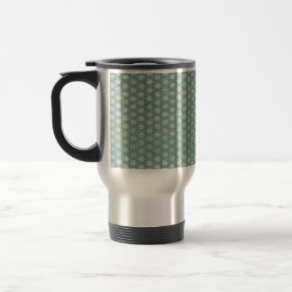 Vintage Grunge White Flowers On Green Stainless Steel Travel Mug