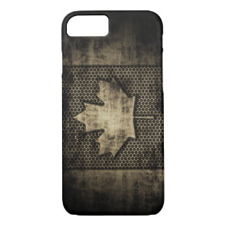 Vintage Grungy Metal Look Canadian Flag iPhone 8/7 Case