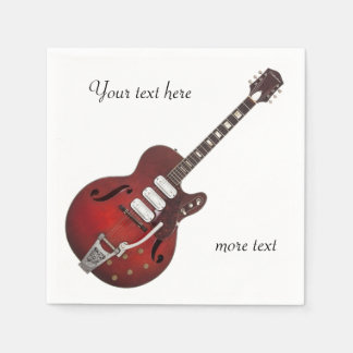 Vintage Guitar Band Musician Disposable Napkins