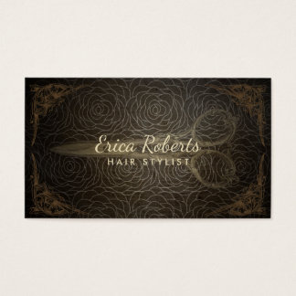 Vintage Hair Stylist Appointment Floral Pattern Business Card