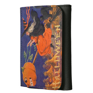 Vintage Halloween Art Small Leather Wallet