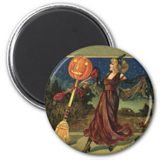 Vintage Halloween, Beautiful Dancing Witch Magnet
