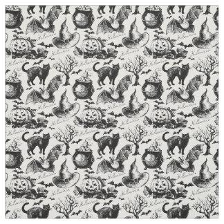Vintage Halloween Black Cats Pumpkins Pattern Fabric